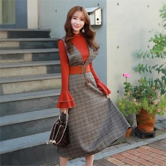 スタイルオンミ行き来するようにスタイルオンミ修学チェックレイヤードワンピース プリントのワンピース/ 韓国ファッション