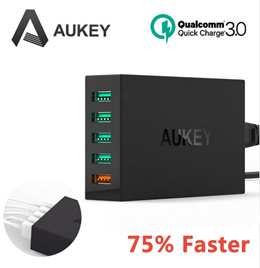 Aukey Quick Fast Charge 3.0 55.5W 5 Ports USB Desktop Charging Station Wall Charger For Xiaomi 5 LG G5 HP Elite x3 HTC One M9
