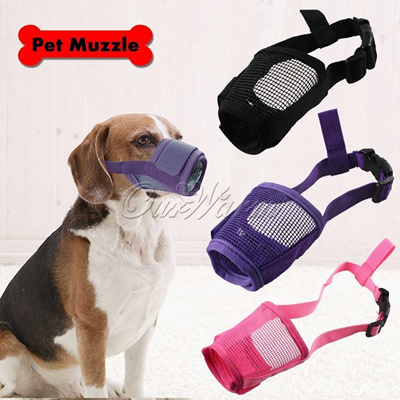 Adjustable Pet Dog Mask Anti Bark Bite Mesh Mouth Muzzle Grooming Chew Stoper US