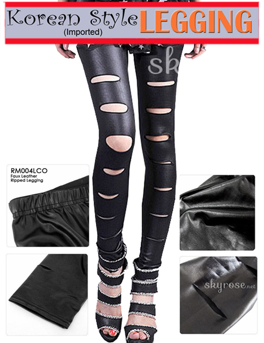 Qoo10 Faux Leather Ripped Legging Korean Style Fashion Legging Import Pakaian
