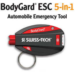 【SWISS TECH】Bodyguard ESC 5-in-1 Automotive Emergency Tools★Automobile Car safety Multifunction Flashlight Cutter Glass Breaker Sonic Alarm Escape Vehicle Flasher Key Holder Ring/for Travel