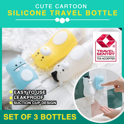 Cute Cartoon Silicone Travel Bottle Tube TSA Accepted Leak Proof Suction  Cup Set of 3 different 42beb61826