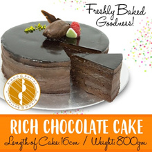 [BreadnBetter] Rich Chocolate Cake 800gm/16cm