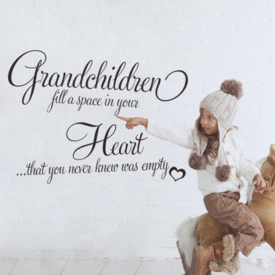 qoo10 - grandchildren fill a space heart vinyl wall quote decal home
