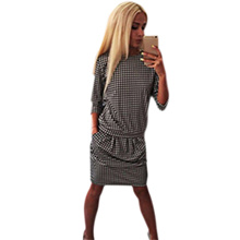 Trendy Round Collar Long Sleeve Houndstooth Midi Dress for Women