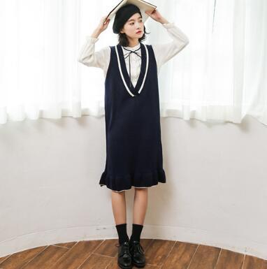 [55555SHOP]新作!レディース ニットキャミソールワンピース ミドル丈 美シルエット 大人可愛い ストレッチ性 体型カバー シンプル リブ編みフリル Vネック カジュアル 韓国ファッション