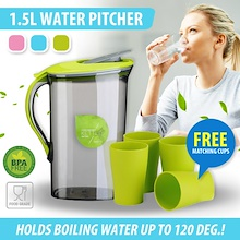 BPA Free Hot / Cold Water Pitcher / Jug / Container 1.5L and 2.1L Lip with Safety Clip