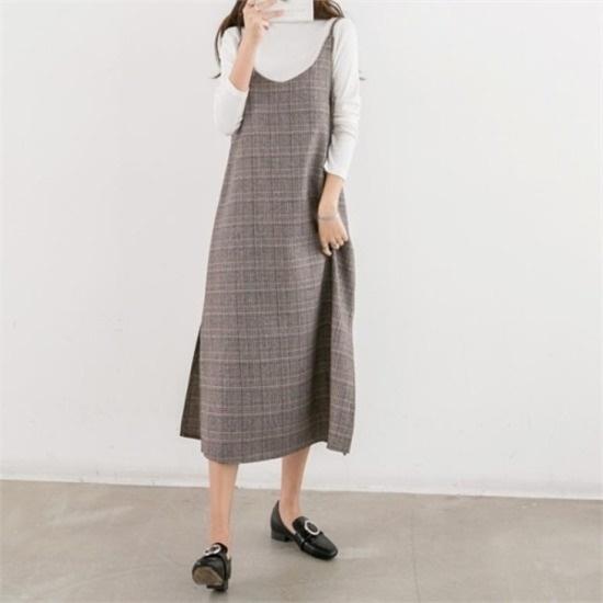 ピピン行き来するようにピピンクルレドゥチェックひもワンピース34839 綿ワンピース/ 韓国ファッション