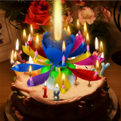 Qoo10 Rotating Lotus Flower Music Candle Birthday Party Cake