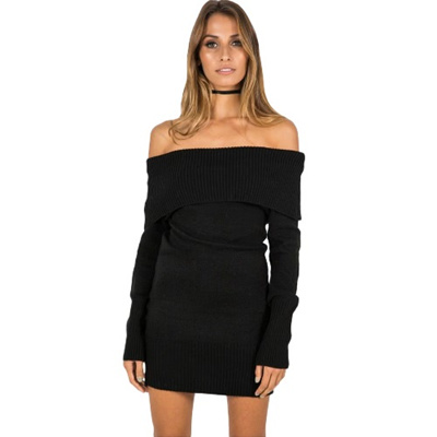 3c2027b7f711 Winter Women Off Shoulder Knitted Bodycon Dress Long Sleeve Autumn Sexy  Party Short Dress Black
