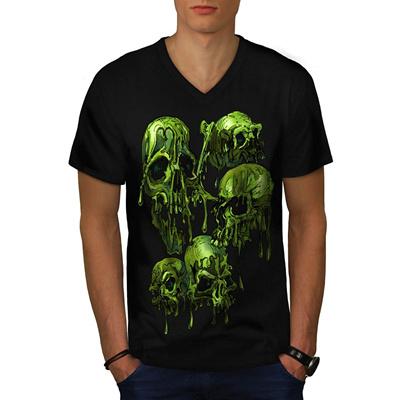 ae2db9ae3a6 Men Cotton T Shirt Melting Skull Head Freaky Scalp Men NEW Black V-Neck T