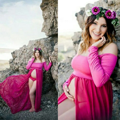7ff71cb323a SMDPPWDBB Maternity Dress Photo Shoot Maxi Maternity Gown SPLIT FRONT  Maternity Chiffon Gown Sexy Ma