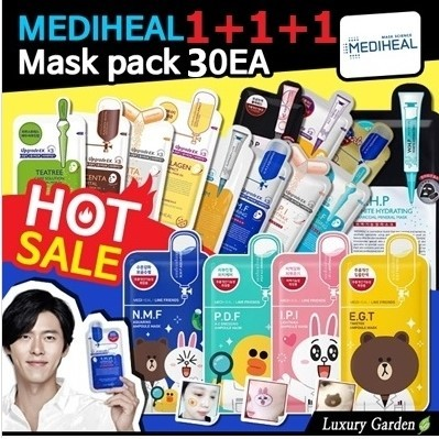 ?[MEDIHEAL] 1+1+1 MASK?30EA LOW PRICE CHANCE/MNF/Collagen/hydrashot / ampouel /Skin care /BTS Deals for only S$28.9 instead of S$0