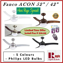 [SALES] Fanco ACON 42/52inches Ceiling Fan ABS Blade Philips LED 24W TRI Colour LED PANEL /LED BULB