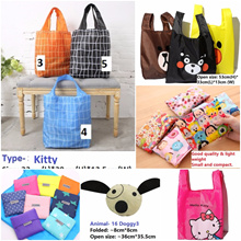 Restock! Over 100 designs!.Cartoon Foldable Waterproof Lightweight Recycle Bag .Perfect for gifts!