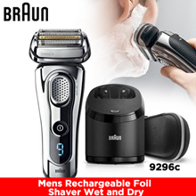 Braun Series 9 9296cc Mens Rechargeable Foil Shaver Wet and Dry with Leather Case