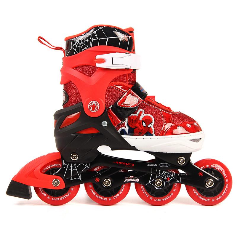正品漫威新款兒童輪滑鞋初學者溜冰鞋套裝蜘蛛俠直排輪滑冰鞋PU閃光輪
