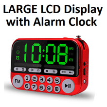 Portable FM Radio * LARGE LCD Display * Alarm Clock USB Drive TF Memory Card Torch Speaker Player