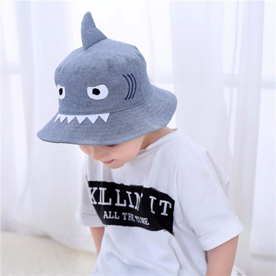 9aa24e1dc44 authentic 3D Shark Design Baby Sun Hat Infant Boys Girls Beach Hat Cotton  Toddler Kids Summer
