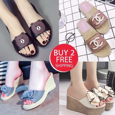 7738dc0a279 wedge Sandals Heels Korea style slipper flats design sg Slimming Shoes☆Women  shoes sandals Loafers