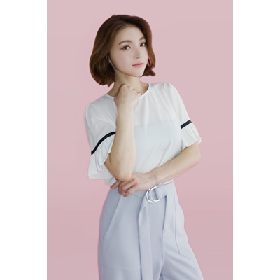 19. frill sleeve blouse - white - free