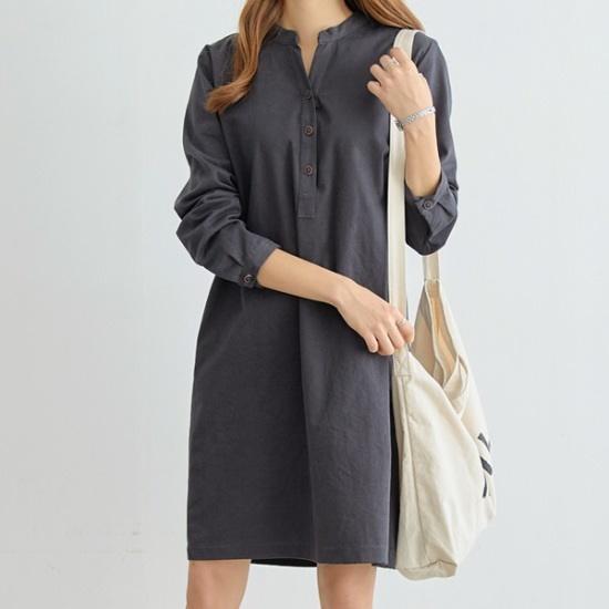 ペッパーバンオプンシンプルワンピース34862 綿ワンピース/ 韓国ファッション