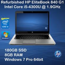 [REFURBISHED] HP Elitebook 840 Notebook PC / Intel Core i5-4300U / 1.9GHz / 8BG RAM /180GB SSD