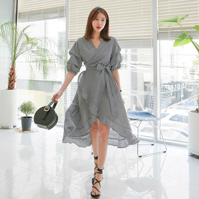 2aa3882f84 Qoo10 - 【New Arrival】 DABAGIRL V Neck Plaid Dress (Korea Fashion ...