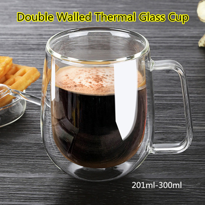 Double Walled Thermal Glass Cup ★ Drinking Glass ★ Borosilicate Glass ★ Capacity 201-300ml