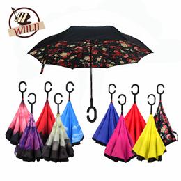 38281af84e14e 1PCS Creative Cars Reverse Folding Umbrella Double Layer Rain Protection  C-Handle Inverted