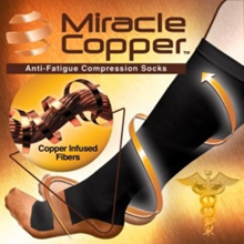 Miracle Copper Anti-Fatigue Compression Socks (As Seen On TV) *Newest Model* Reduce Swelling. Boost Circulation. Control Odors. Soothe Tired Legs. Perfect for Home Work and Travel.