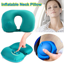 U Shape Neck Pillow Foldable Simple Portable Press Inflatable Travel Pillow For Airplane