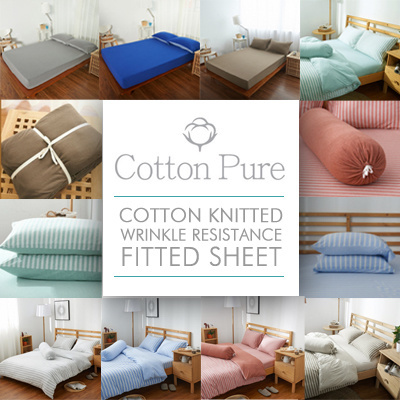 [Cotton Pure™] 100% Cotton Knitted Wrinkle Resistance Fitted Sheet /  Bedsheet Set