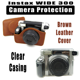 ♥♥ Fujifilm Instax Wide 300 Instant Camera Clear Casing Brown Leather Cover ♥♥