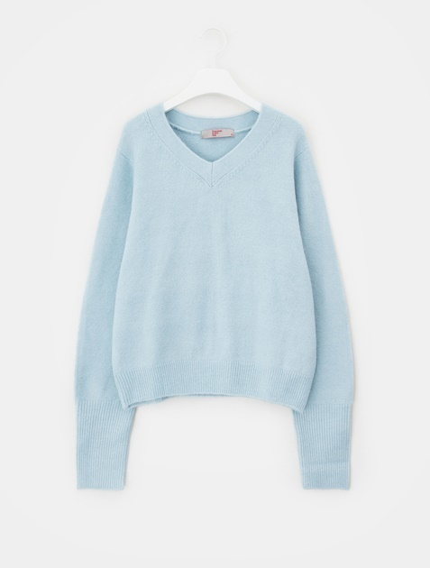 8SECONDS Solid Loose Fit Rib Sleeve V-neck Knit – Sky Blue