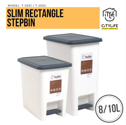 Citylife Slim Rectangle Step Bin 8L/10L