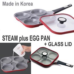 NEOFLAM Steam Plus Egg Pan+ Silicone Rim Square Glass Lid★Xtrema Ceramic Coating★27×49cm Korea