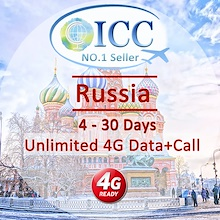 ◆ ICC◆【Russia Sim Card·7-30 Days】❤Unlimited 4G data (No slow speed)+500mins Local Call+Free Incoming