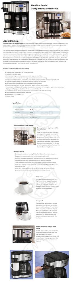 Hamilton Beach 49980 2-Way Brewer Coffee Maker Drip Coffee Coffee Machine []