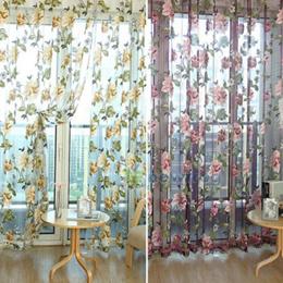 100*200cm Peony Flowers Curtain Door Curtain Window Room Divider Valance