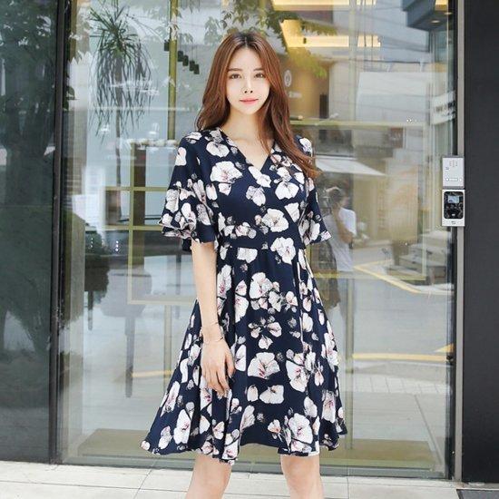 トムエンレビッルベルフラワーワンピースフラワーワンピースフレアワンピースブイネクワンピース プリントのワンピース/ 韓国ファッション