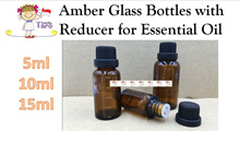 ❤ 3 FOR $5.00 ❤  Amber Glass Bottles with Reducer ❤ Suitable for Essential/ Massage /Hair Oils etc