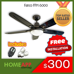 [HomeApp] Fanco FFM 6000 48 inch Ceiling Fan with Light and Original Fanco Remote. FREE INSTALLATION