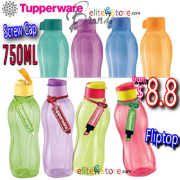 b4a485b09 TUPPERWARE Eco Water Bottle 750ml FLIPTOP SCREW CAP BRUSH Flip Top BPA Free  Gifts Conference Sports