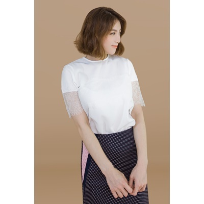 20. lace trimmed blouse - white - free