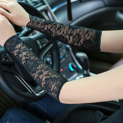 447dcf842 Women Black Rose Floral Arm Sleeves Tattoo Arm Sleeve Scar Cover Sun  Protection Anti UV Fingerless