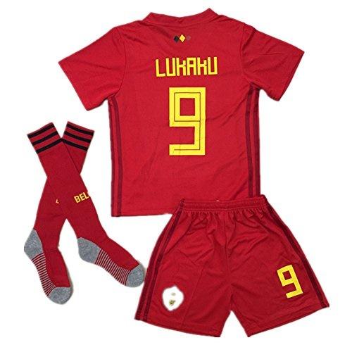 watch bb266 c5a96 BelgiumJS 9 Lukaku 2018 Russia World Cup Belgium Home Soccer Jersey  Youth/Kids Jersey Shorts Socks