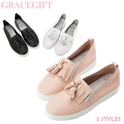 a801ecef8 COUPON  Gracegift-Model Hannah Collab Leather Tassel Tie  Slip-ons Women Girls Shoes