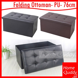 [FREE Delivery!] Ottoman STORAGE [BIG 38cm/ DOUBLE 76cm] [PU Leather/ Linen]_ Stocks SG_ storage