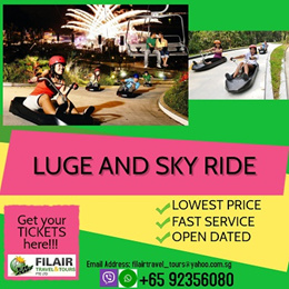 [Fil Air] Q10 BEST DEAL EVER!--Luge and Sky Ride at Sentosa / E-TICKET AVAILABLE / HASSLE FREE